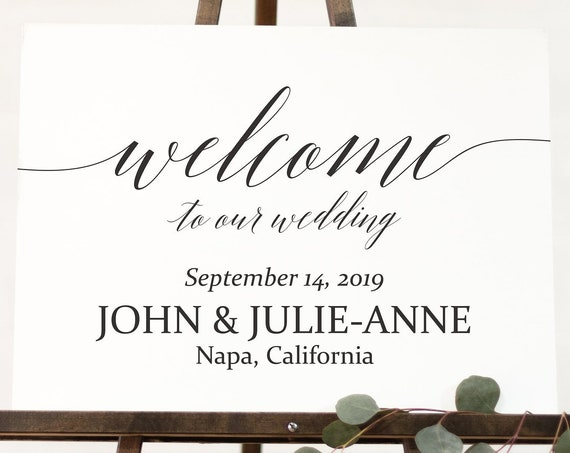 Welcome Sign ~ Welcome to our Wedding Sign ~ Reception Sign ~  Printable Landscape Sign ~ Editable Template ~ Instant Download PDF ~ 120B