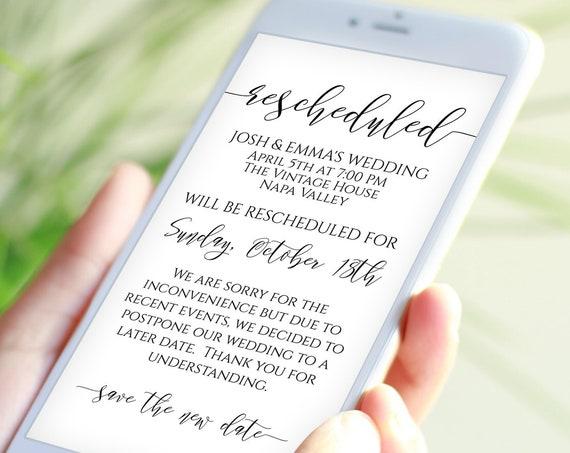 Rescheduled Announcement, Wedding Digital, Text Message Template, Cancellation, Postponement, 100% Editable, Corjl PPW0550