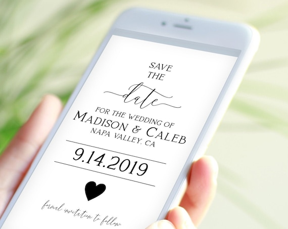 Save the Date, Electronic Invitation, Evite, Phone Text Invite, Editable Text, 100% Editable Template, Corjl PPW0557