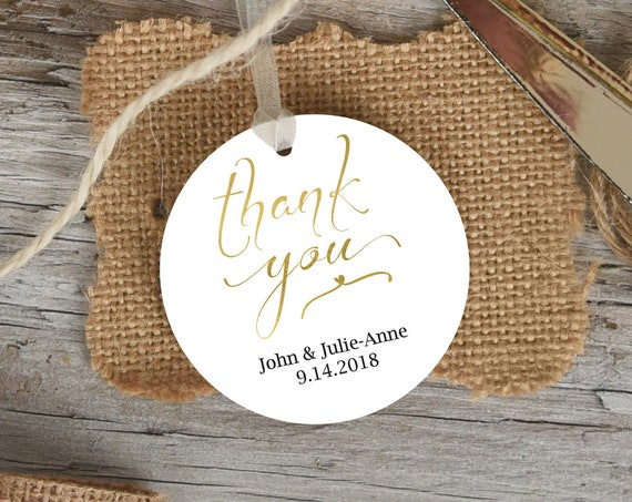 Gold Thank You Tag Template, Wedding Favor Tag, Favor Thank You Tags, Editable Printable,  Instant Download, 110G