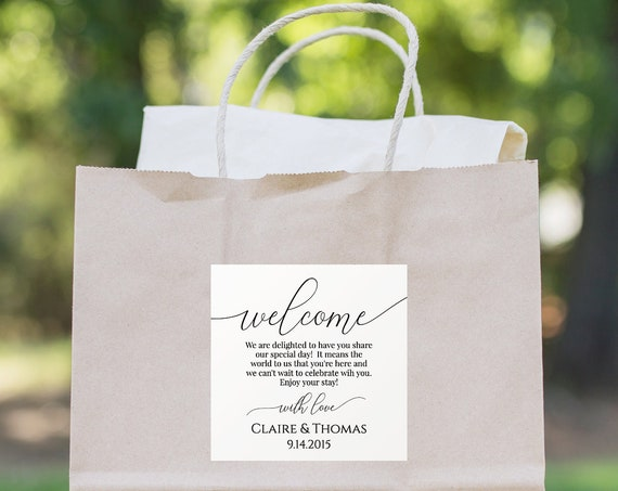 Wedding Welcome Bag Label, Tag, or Sticker for Out of Town Guests, 100% Editable, Templett PPW0560