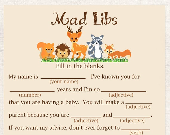 Baby Mad Libs ~ Woodland Animal Baby Shower Game ~ Gender Neutral Theme ~ Printable Game 0046