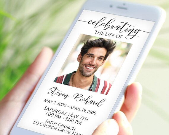 Memorial Invite, Electronic Celebration of Life Announcement, Funeral Evite, Email, Text Message,  Editable Corjl Template PPF550