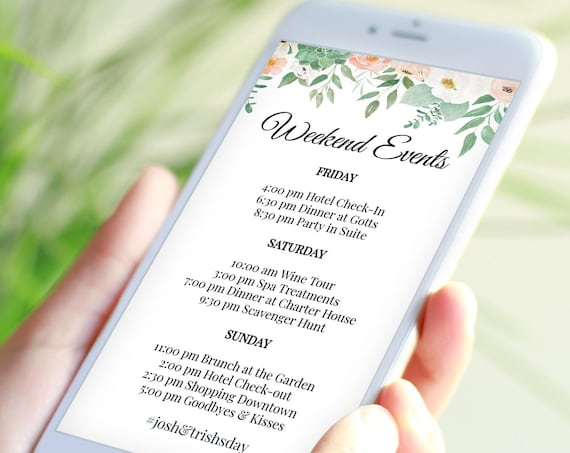 Itinerary, Blush Wedding, Bachelorette, Out of Town Guest, Family Reunion, Electronic, Mobile Phone Format, 100% Editable PPW700