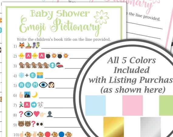 Baby Book Pictionary Game ~ Baby Shower Emoji  Game ~ Flower~ Gender Neutral ~ Printable Game 30