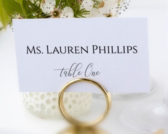 Wedding Table Place Cards, Event Seating Card, Elegant Calligraphy, Escort Card 100% Editable Template, Templett PPW0560