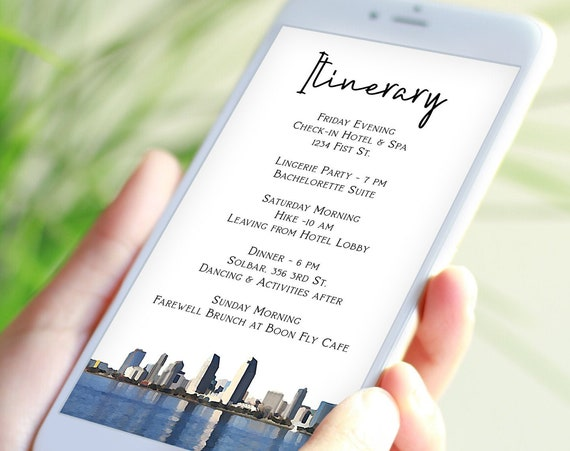 San Diego Itinerary Electronic Template, Evite, Hen Party, Bridal Shower, City Scape Editable Text PPW66 PACIFIC