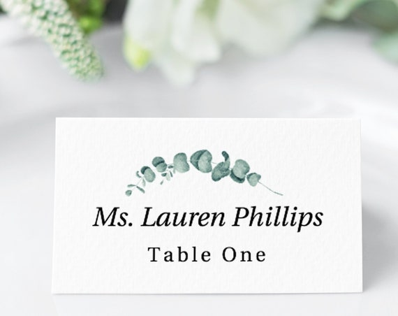 Greenery Seating Place Card Template, Flat or Tent Escort Card, Wedding Printable 100% Editable, Templett PPW0440 PPB0440