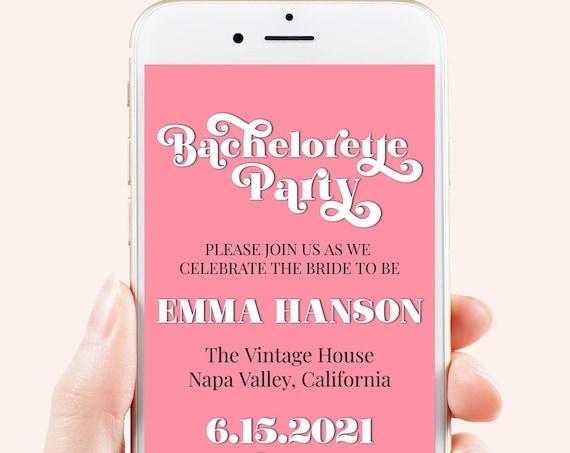 Pink Retro Bachelorette Party Evite, Hen Party, Electronic Invitation, Bridal Shower, Modern Retro, 100% Editable Template, Corjl PPW70W
