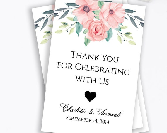 Floral Wedding Favor Tag, Bridal Shower, Printable Custom Thank You Tag, 100% Editable Text, Instant Download, Templett, DIY PPW0220