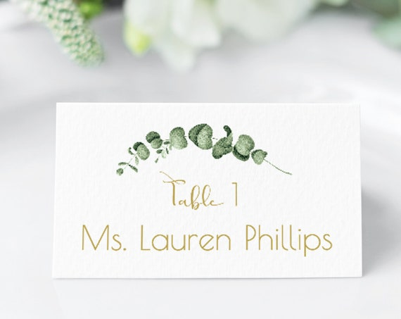 Gold Greenery Event Place Card, Wedding Seating Escort Cart Template, 100% Editable, Templett PPW0445