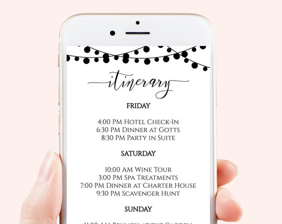 Itinerary, Wedding, Bachelorette, Out of Town Guest, Family Reunion, Modern Electronic Schedule, Email Format, 100% Editable Corjl PPW24