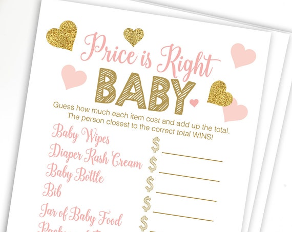 Glitter Baby Price is Right ~ Pink and Gold Baby Shower ~ Baby Girl Hearts ~ Printable Game 5GL_PG