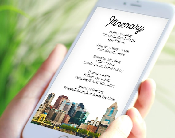 Pittsburg Skyline Itinerary , The Iron City Electronic Template, Evite, Hen Party, Bridal Shower, Details, Itinerary FERRIS PPW76