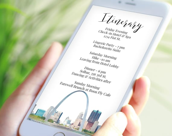 St. Louise  Skyline Itinerary , Gateway Arch Electronic Template, Evite, Hen Party, Bridal Shower, Details, Itinerary LOUISE PPW74