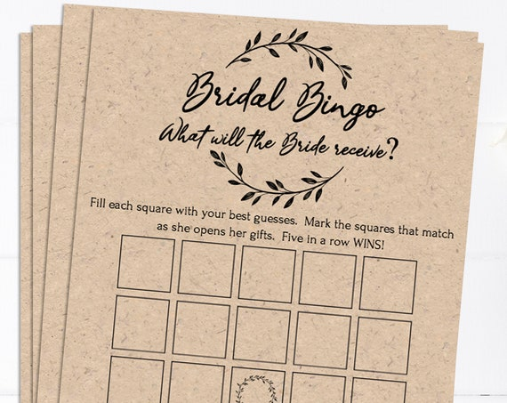 Rustic Bridal Shower Bingo Game, Wreath Printable, 100% Editable Text, Wedding Instant Download, Templett, DIY PPW0330