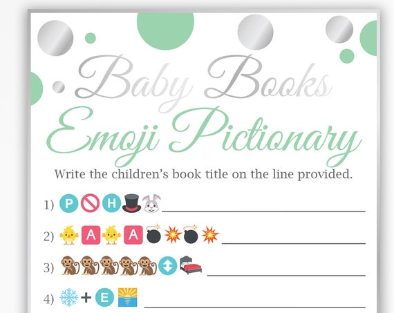 Baby Books Emoji  ~ Mint Green and Silver Baby Shower Game ~ Gender Neutral Polka Dot ~ Printable Game 21SilverM