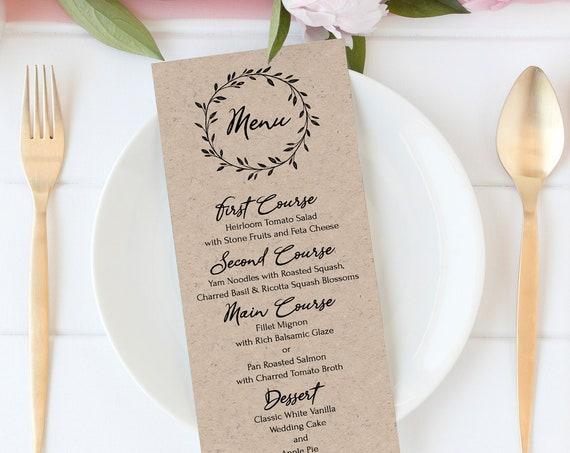 Rustic Menu Template, Wreath Printable, 100% Editable Text, Wedding Instant Download, Templett, DIY PPW0330