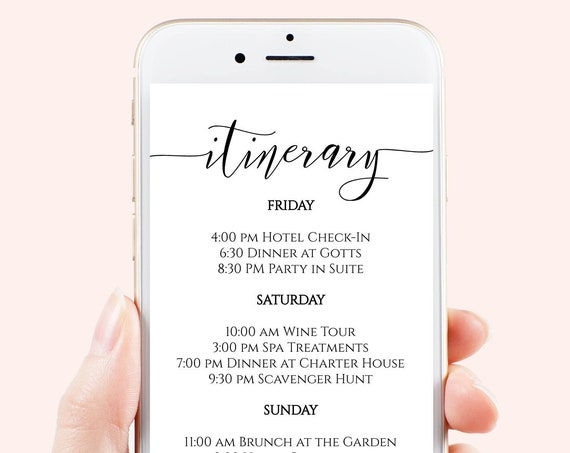 Itinerary, Bachelorette, Wedding, Family Reunion, Electronic Schedule, Email Itinerary, Editable Text, 100% Editable, Corjl PPW0550 Grace