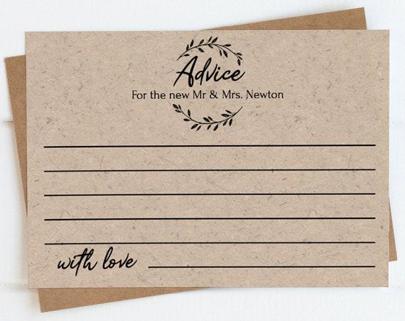Rustic Wedding Advice Card Template, Bridal Shower Idea Printable, 100% Editable Text, Wedding Instant Download, Templett, DIY PPW0330