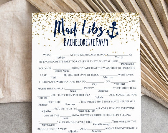 Mad Libs Bachelorette Party Game Template, Wedding Mad Libs Game, Nautical, Let's Get Nauti, Bridal Shower Activity MARIN PPW28