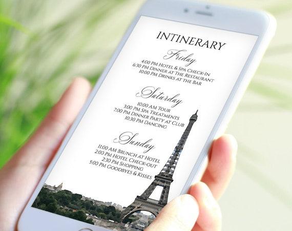 Paris Watercolor Graphic Electronic Itinerary Template, Evite, Hen Party, Shower, Details, Weekend Events Agenda PPW46 PARIS
