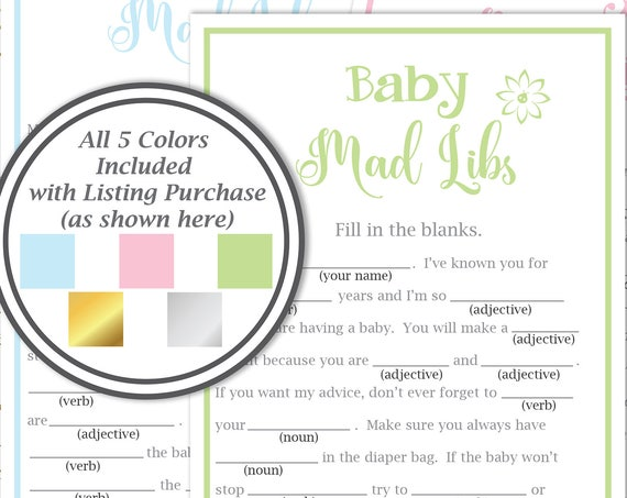 Baby Shower Mad Libs Game ~ Baby Shower Game Template ~ Flower~ Gender Neutral ~ Printable Game 30