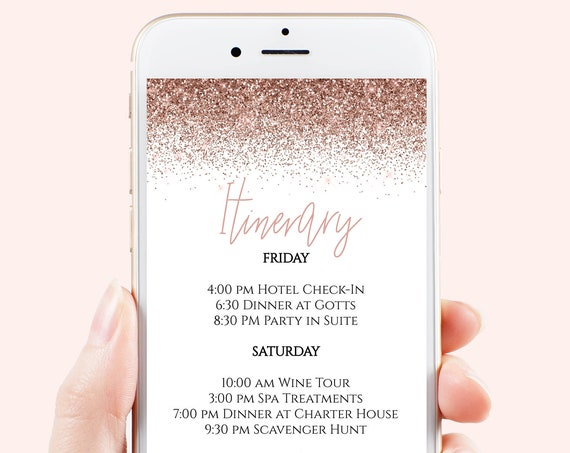 Bachelorette Weekend Itinerary, Hen Party, Electronic Invitation, Bridal Shower, Rose Gold Glitter, 100% Editable Template, Corjl PPW90