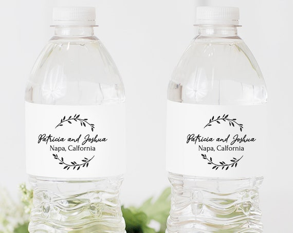 Rustic Water Bottle Label Template, Bridal Tag Printable, 100% Editable Text, Wedding Instant Download, Templett, DIY PPW0330