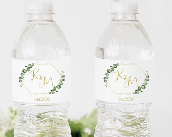 Gold Geometric Greenery Water Bottle Label, Wedding, Bridal or Baby Shower Template, 100% Editable, Templett PPW0445
