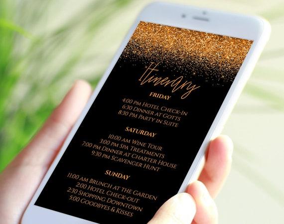 Orange Glitter Itinerary, Hen Party, Electronic Invitation, Bachelorette, Bridal Shower, Halloween Event, Editable Template PPW90OrangBlack