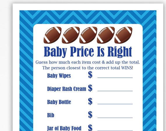 Football Theme Price is Right, Blue Baby Shower Game, Stripe Baby Boy Printable Template, Baby Shower Game  56Football