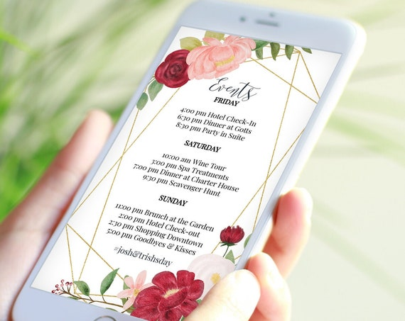 Itinerary, Pink Wedding, Bachelorette, Out of Town Guest, Family Reunion, Electronic, Floral, Mobile Phone Format, 100% Editable PPW0230