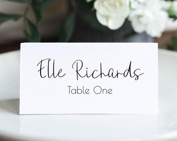 Place Card Template, Minimalist Elegant Design, Wedding Favor, Handwritten Font, 100% Editable, Templett PPW0580