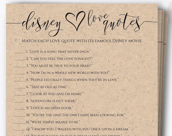 Disney Love Quotes Game, Movie Quotes, Kraft Bridal Shower Quiz, Bachelorette Party, Heart, Elegant Wedding PPW0550 Grace