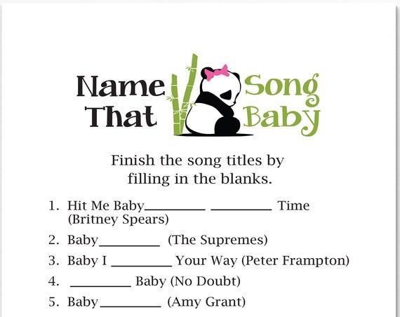 Name That Song Baby Game ~ Pink Panda Bear Baby Shower Game ~ Girl Baby Shower  ~ Printable Game  0034Pink