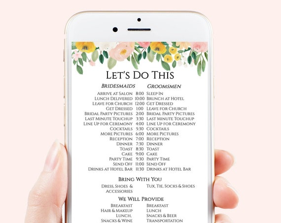 Wedding Party Timeline, Electronic Itinerary, Evite, Digital, Text Invite, Editable Text, Blush and Pink Floral, Corjl Template PPW232