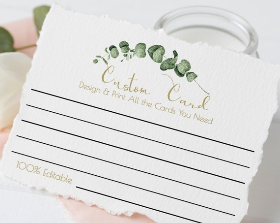 Greenery Wedding Custom Card Template, Bridal and Baby Shower Advice Card, Share a Memory, Date Night Idea, 100% Editable, Templett PPW0445