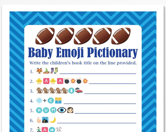 Football Theme Baby Pictionary, Blue Baby Shower Game, Stripe Baby Boy Printable Template, Baby Shower Game  56Football