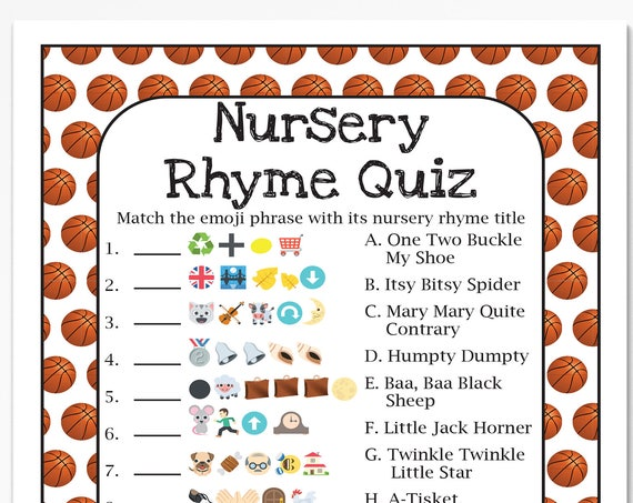 Basketball Theme Nursery Rhyme Quiz, Baby Shower Game, Sport Theme Baby Boy Printable Template, Baby Shower Game  60Basketball