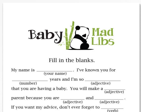 Baby Mad Libs ~ Panda Bear Baby Shower Game ~ Gender Neutral Baby Shower  ~ Printable Game  0034