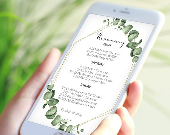 Itinerary, Greenery Wedding, Bachelorette, Out of Town Guest, Family Reunion, Electronic, Gold Frame, Email Format, 100% Editable PPW0445