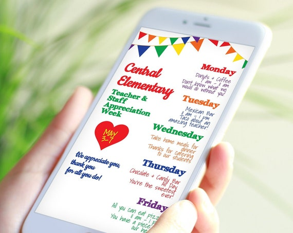 Virtual Teacher Appreciation Itinerary, Daily Events, Electronic Itinerary, Email or Text Schedule, Personalized Editable Template TAW120
