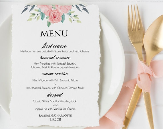 Pink Boho Reception Menu Template, Wedding Printable, 100% Editable, DIY, Blush Florals, Instant Download  PPW0220