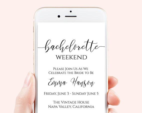 Bachelorette Weekend Evite, Hen Party, Electronic Invitation, Bridal Shower, Editable Text, 100% Editable Template, Corjl PPW0550 Grace