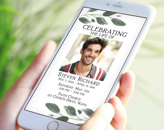 Greenery Memorial Evite, Celebration of Life, Mobile Invitation, Electronic Announcement, Editable Corjl Template PPF450