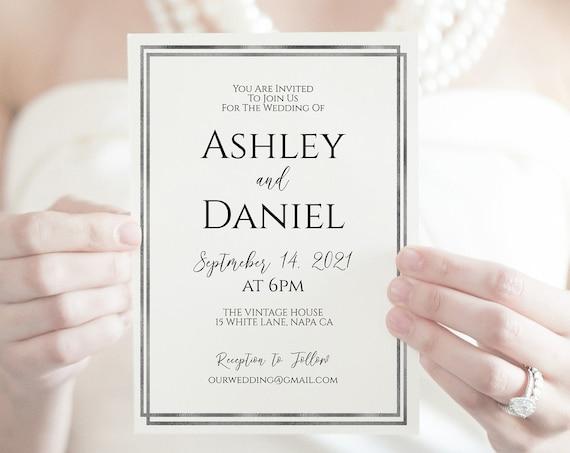 Simplistic Modern Silver Wedding Invitation, Elegant Invite, Foil Silver Framed Card, Editable WeddingTemplate, Corjl PPW-NY21S