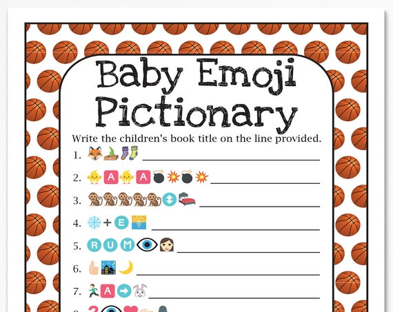 Basketball Theme Emoji Pictionary Game, Baby Shower Game, Sport Theme Baby Boy Printable Template, Baby Shower Game  60Basketball