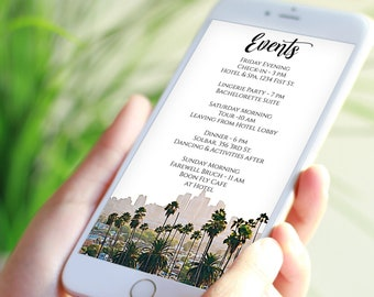 Los Angeles Skyline Theme Itinerary Electronic Template, Evite, Hen Party, Bridal Shower, Palm Trees Editable Text PPW56 TINSEL