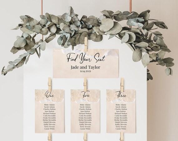Beach Theme Wedding Seating Table Cards, Poster, Seating Arrangement, Ocean Blush Sand Design,  Corjl PPW20 BREE